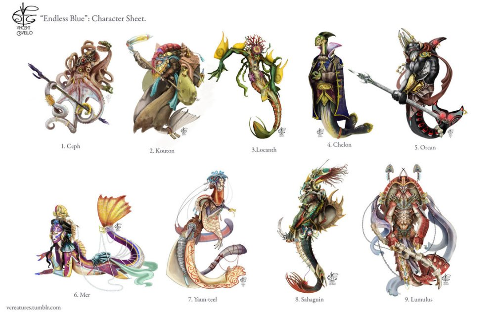 Illustrations of the player races in the Endless Blue Campaign Setting.